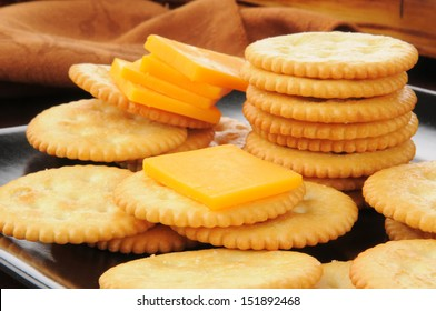 Closeup of a snack plate of cheese and crackers