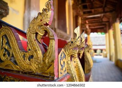 Closeup of the snake statues on Sisaket Temple, Vientiane, Laos.