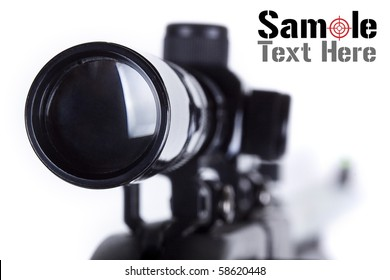 Closeup of a sniper rifle telescope scope glass lens isolated on white depicting weapon gun target concept.