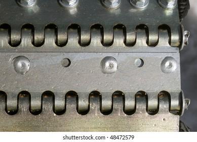 Close-up of a snowcat belt
