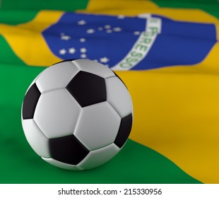 closeup in soccer ball on the brazil flag