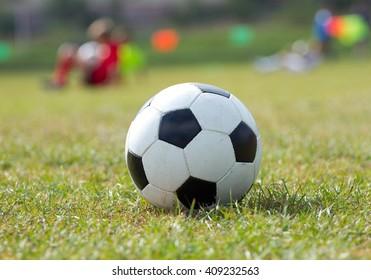 Close-up soccer ball on green grass and coach children