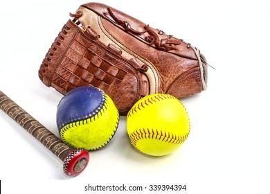 Closeup of a Softball Glove and ball