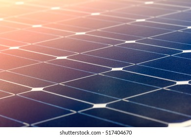 Close-up of Solar energy panel photovoltaic module in the sea offshore