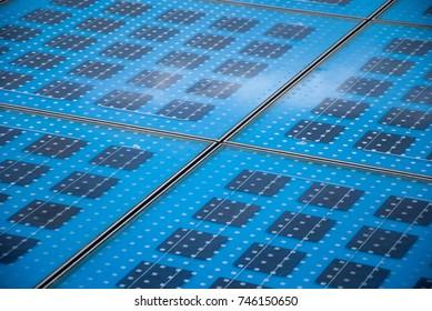 Closeup of a solar panel.