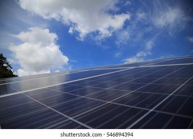 closeup of solar panel with blue sky. alternative energy concept.