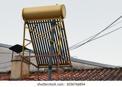 Closeup of solar panel mounted on the roof of a house