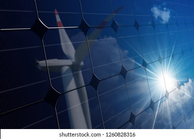 Close-up of a solar panel with the reflection of a wind turbine on a blue sky with clouds and sun rays - Renewable energy concept
