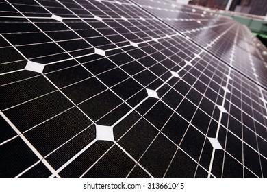 Closeup Solar Panels For Renewable Electrical Energy Production