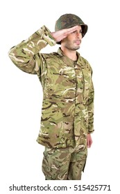 Close-up of soldier saluting on white background