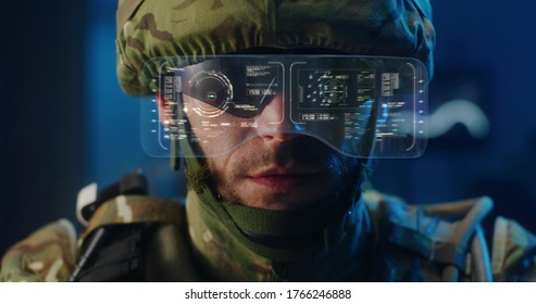 Close-up of a soldier using high-tech sunglasses with holographic display - Shutterstock ID 1766246888