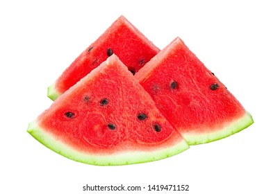 closeup of some pieces of refreshing watermelon on a white background. File contains clipping path