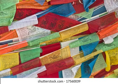 Close-up of some prayer flags