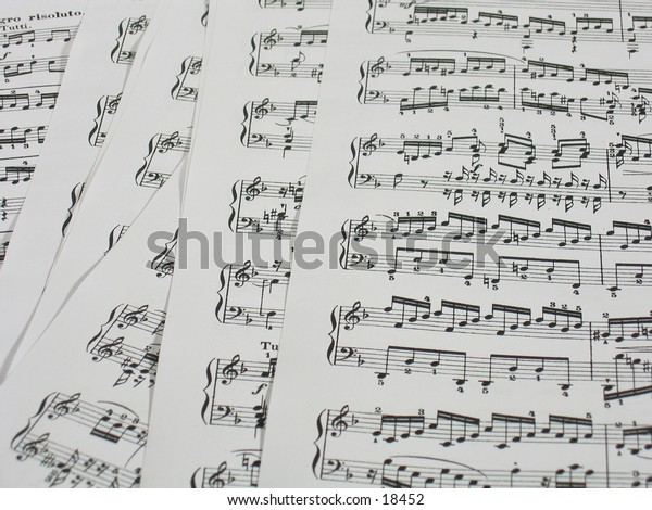 Close-up of some sheets of classic music.