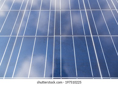 A close-up of some solar energy panels for electricity production
