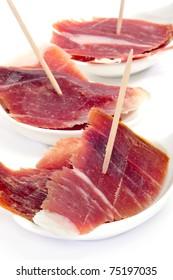 closeup of a some spanish serrano ham tapas