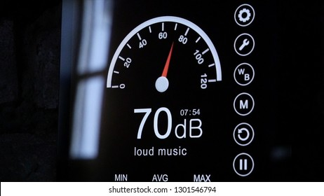 Close-up of sound level meter screen in decibels. Modern electronic sound meter around