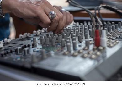 closeup of sound mixer board