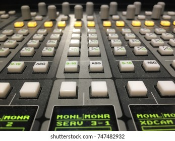 Close-up of sound mixer control panel in television studio.