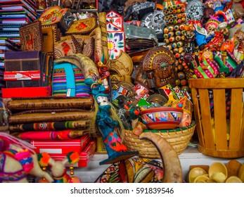 Close-up of souvenirs of Peru, in a market of Cusco