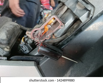 Close-up of spare part component motor vehicle under maintenance. Electronic component motor vehicle
