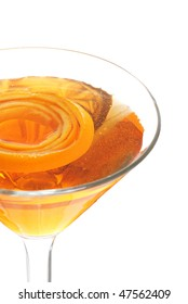 closeup of a sparkling orange martini