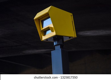 A close-up of a speed camera in central London, UK.