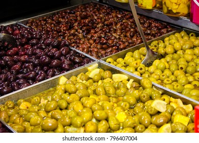 Closeup of spices, olives and dry fruits in a vegetables market in Israel