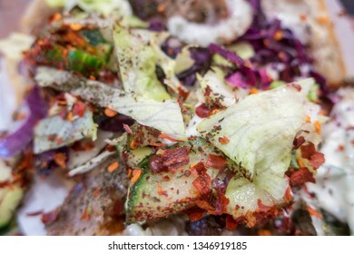 closeup of spices on a doner