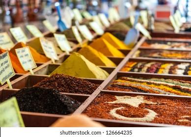 Closeup of spices on sale market. Turkey, Antalya