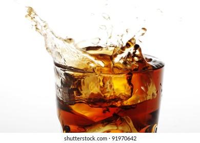 closeup of splashing cola