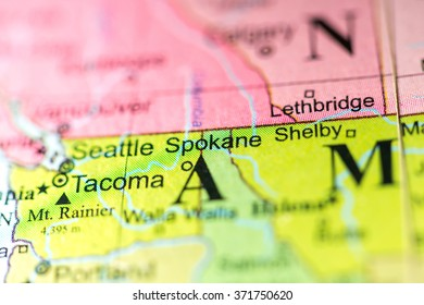 Seattle Political Map.Closeup Seattle Washington On Political Map Stock Photo Edit Now