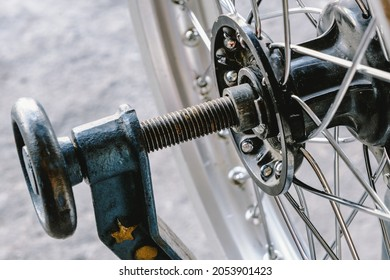 Close-up of spokes for motorcycle wheels.