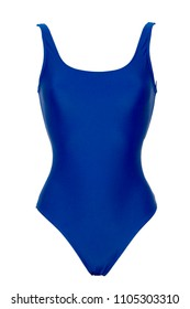 Closeup of sporty blue one piece swimsuit isolated on white background