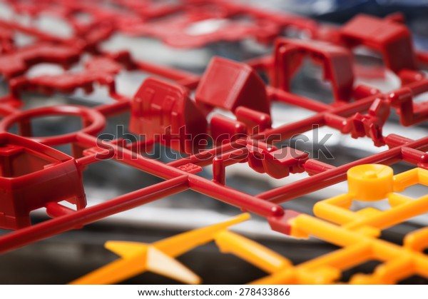 closeup sprue or injection moulding of toy
