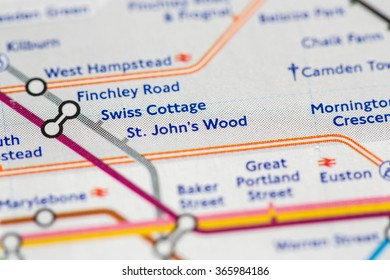 Closeup of St. John's Wood station on a map of the Jubilee metro line in London, UK.