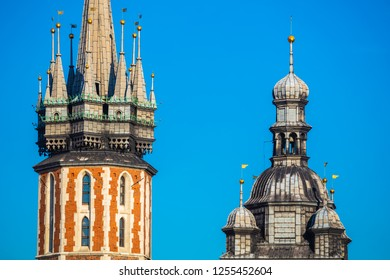 Closeup of St. Mary's Basilica (Church of Our Lady Assumed into Heaven) in Krakow, Poland
