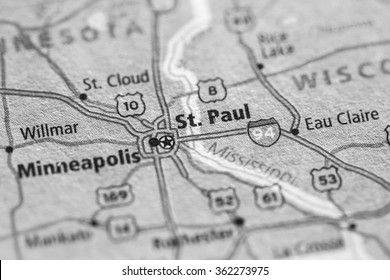 Closeup of St. Paul on a geographical map. (black and white)