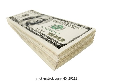 Closeup of stack of cash isolated on white background