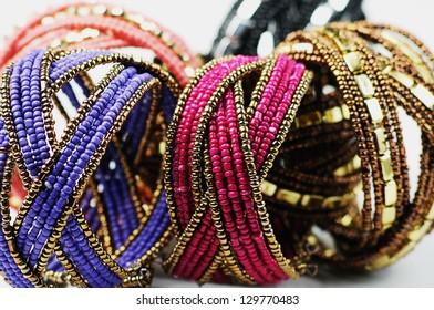 closeup of  stack of  Handmade beads bracelet