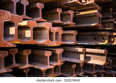 Closeup stack of railway metal