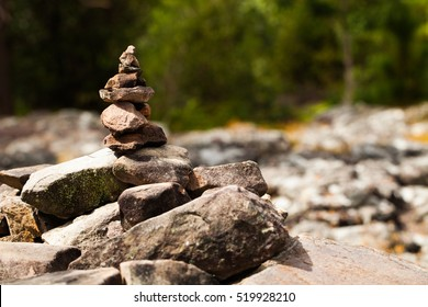 Closeup of a stack of stones,Cairn Stacks