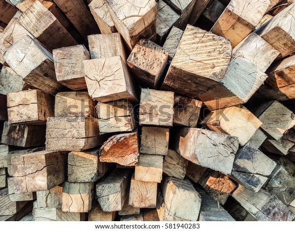 Closeup of stack of wooden background.