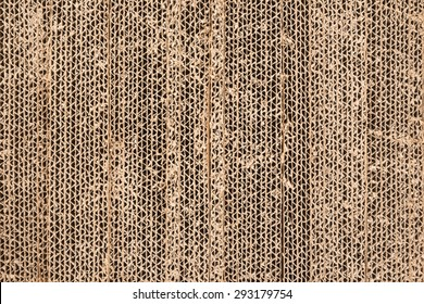 Close-up of stacked corrugated cardboard