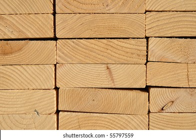 Close-up of Stacked Lumber for construction, background