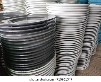 closeup of Stacks of plates in a store