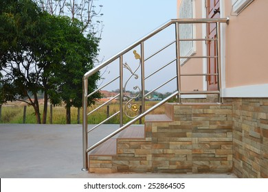 closeup of stainless steel handrail
