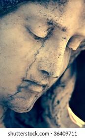 Closeup of statue of an angel