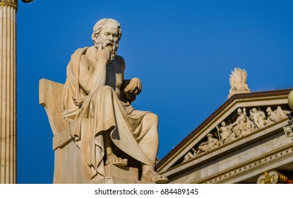 Close-up statue of the Greek philosopher Socrates on the background of Sky