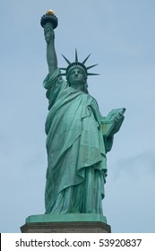 Closeup of the Statue of Liberty in New York City